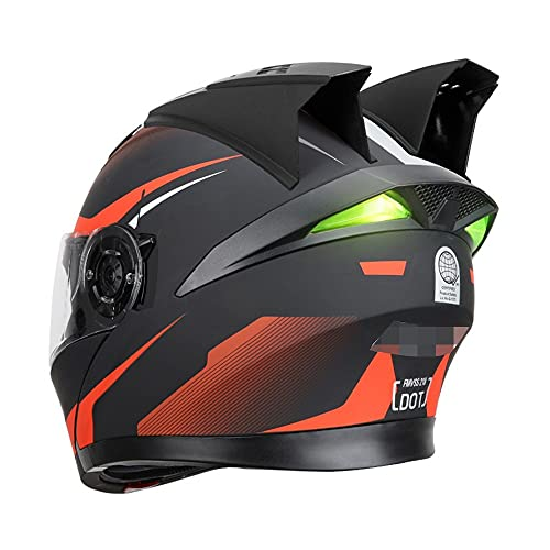 RMBDD Casco Moto Integral Dot/ECE Homologado Motorradhelm mit Bluetooth Casco Scooter para Hombre y Mujer Unisex ABS de Motocicleta para Adultos con Cuernos/Tiras Reflectantes (59~64CM)