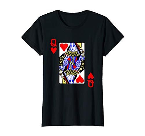 Damen Spielkarte Herz Königin Queen der Herzen Karneval Kostüm T-Shirt