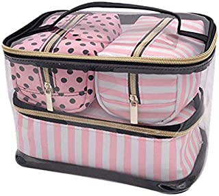 SODIAL 4Pcs/Lot Pvc Transparent Cosmetic Bag Organizer Travel Toiletry Bag Set Pink Beauty Case Makeup Case Beautician Vanity Necessaire Trip Cosmetics Toilet Organizer