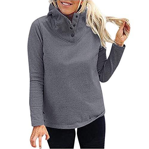 MRULIC Damen Winter Sweatshirt Frauen Normallack Standplatz Kragen Volle Hülsen Warme Knopf Outwears Sweatshirt Bluse(Dunkelgrau,M)