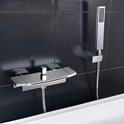 Cuenca del grifo baño grifo de la ducha de la bañera cascada grifo de la ducha Negro/Blanco/oro/cromo oculto montado en la pared Mezclador de bañera grifo, cromo