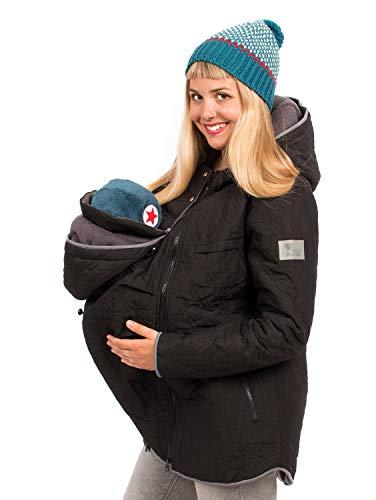Viva la Mama 3in1 Umstandsmode Tragejacke mit Einsatz Winterumstandsjacke Damen Wintermantel schwanger Nevada schwarz - L