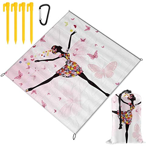 HARXISE Alfombras de Playa,Pink Butterfly Girl Ballet Vestido floral Diseño floral Cuento de hadas Alas de ángel Fantasía Folk,Manta de Picnic Impermeable para la Playa Acampar Picnic y Otra Actividad