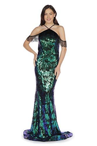 Carmen Langes Grünes Kleid mit Pailletten und Fransen an den Schultern