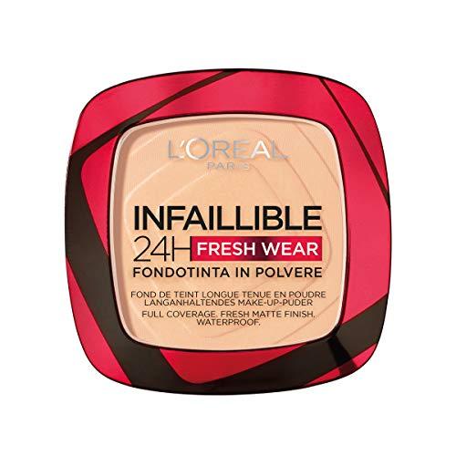 L'Oréal Paris Fondotinta Compatto Infaillible 24H Fresh Wear, Formula in Polvere, Mask-Friendly, Low-Transfer e Waterproof, Copre come un Fondotinta e Opacizza come una Polvere, 40 Cachemire/Cashmere