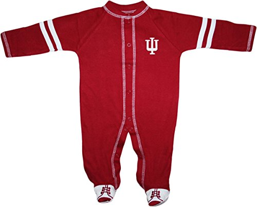 Creative Knitwear Indiana University Hoosiers Newborn Infant Baby Sports Shoe Footed Romper Crimson/White
