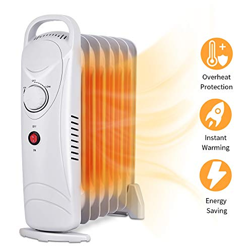 Radiator Heater - Oil Heater, Portable Heater with Overheat Protection, Adjustable Thermostat, 700W Space Heater, Oil Filled Radiator Heater for Home and Office, Safety Shut-Off Quiet Radiant Heater