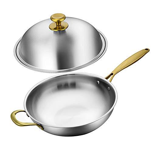 Cooking Tools Sartén de Acero Inoxidable 304, Olla de Cocina Antiadherente, sin Revestimiento, Trabajo Chino, Cocina, Cocina de inducción de Gas, Utensilios de Cocina para el hogar