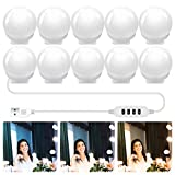 Dimmable Mirror Lights, Hollywood Style LED Vanity Mirror Light with 10 Bulbs, USB Powered Vanity Lights for Mirror Dresser Bedroom Barbershop with 3 Color Modes, 10 Adjustable Brightness