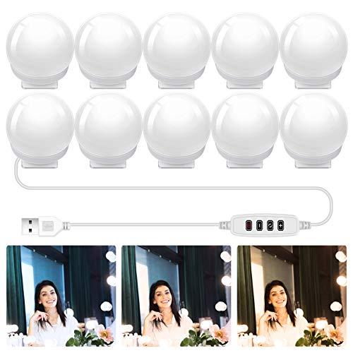 Dimmbare Spiegelleuchten, Hollywood-Stil, LED-Schminkspiegelleuchte mit 10 Glühbirnen, USB-betriebene Schminkleuchten für Spiegelbänke, Kommode mit 3 Farbmodi, 10 einstellbare Helligkeit