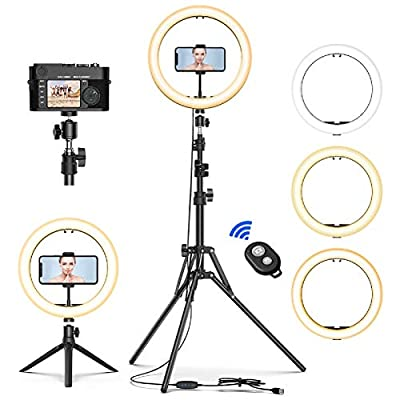 """Selfie Ring Light with Tripod Stand, GPED 10.2"""" Dimmable LED Makeup Beauty Ringlight with Phone Holder for iPhone/Android/YouTube Video/Live Stream/Photography, 3 Light Modes & 10 Brightness Level from GPED"""