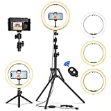 12' Selfie Ring Light with Tripod Stand & Cell Phone Holder for Live Stream/Makeup, Mini Led Camera Ringlight for YouTube Video/Photography Compatible with iPhone Xs Max XR Android