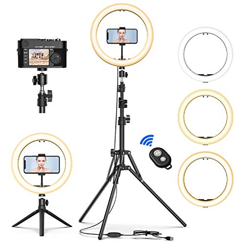"12"" Selfie Ring Light with Tripod Stand & Cell Phone Holder for Live Stream/Makeup, Mini Led Camera Ringlight for YouTube Video/Photography Compatible with iPhone Xs Max XR Android"