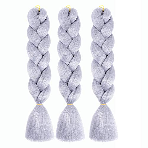 Braiding Hair Kanekalon Synthetic Ombre Jumbo Braiding hair Extensions High Temperature Fiber Grey Crochet Twist Braids(24inch 3 Pieces Grey)