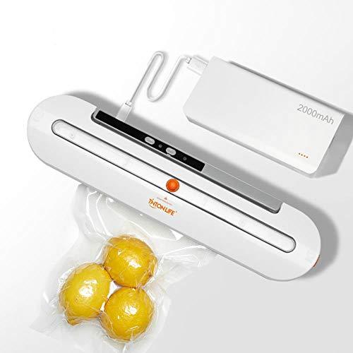2000 mAh Draadloze Voedsel Vacuüm Sealer Reisverpakkingsmachine Met 10st Zakken voor keuken Vacuüm voor Droog en Vochtig Voedsel Verse Conservering, USB LAAD