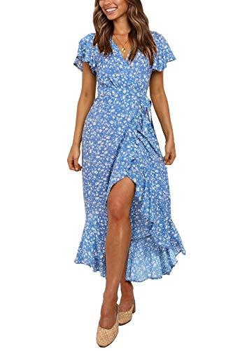 ZESICA Women's Summer Bohemian Floral Printed Wrap V Neck Beach Party Flowy Ruffle Midi Dress Blue