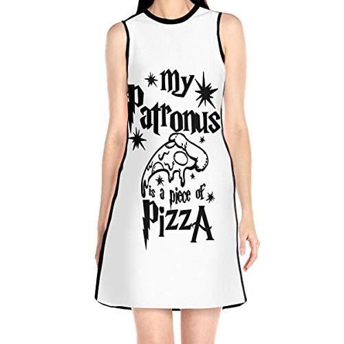 WAYMAY My Patronus is A Piece of Pizza. Dress Sleeveless A-Line Dress Tank Dresses Elegant Dress White