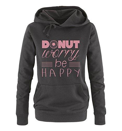 Comedy Shirts - Donut Worry be Happy - Damen Hoodie - Schwarz/Rosa Gr. XXL