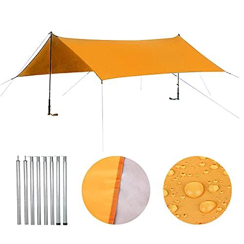 ENCOFT Parasole Vela Rettangolare con Aste Supporto, Vela Ombreggiante Tenda Impermeabile, Parasole Protettiva del Sole in Oxford Anti UV Esterno per Giardino Campeggio Balcone, Arancione 3x4.5m