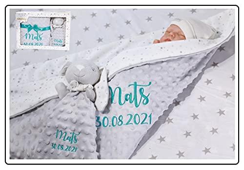 Geschenk-Set New Baby ★ Babydecke mit Namen + Teddybär ★ Baby-Shower ★ Geburt ★ (Geau - Hase)