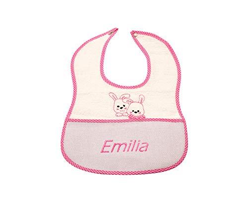 my STITCHERY® Lätzchen bestickt mit Namen und Häschen Motiv mit Druckknopf, personalisiert mit Wunschname, Unisex Farbe rosa Babys & Kleinkind, 100% Baumwolle Frottee Öko-TEX®