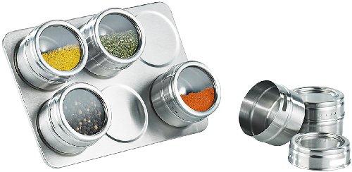 Rosenstein & Söhne Gewürzregal: Magnetisches Gewürzboard mit 6 Gewürzstreuern (Gewürzständer)