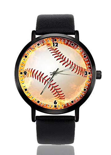 Baseball-Ball On Fire Armbanduhr für Herren und Damen, lässiges Lederarmband, analoges Quarz, Unisex