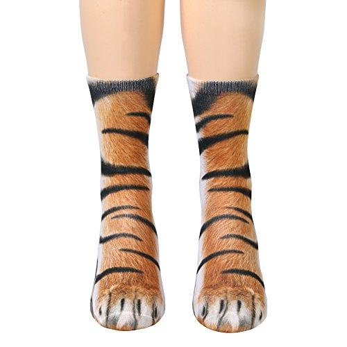 Unisex Adult Animal Paw Crew Socks - Sublimated Print - Tiger