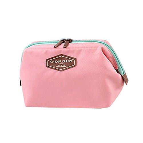 QHGstore Multi-Uso cosmético del maquillaje de la caja del organizador del viaje bolsa del bolso del color de rosa