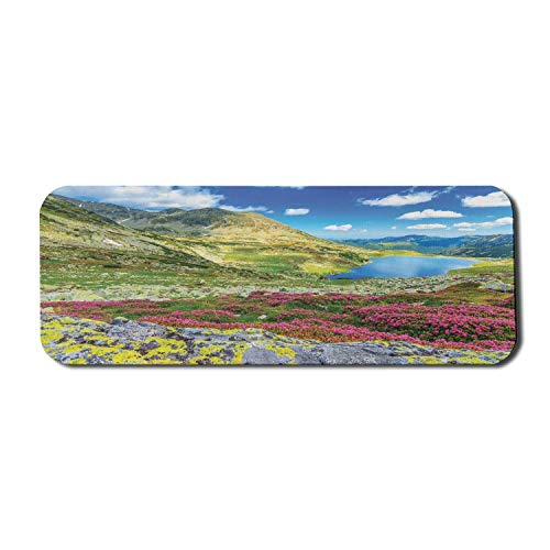 Mountain Computer Mouse Pad, Panoramablick auf isländische Gipfel mit Spring Blooms Sky und Tarn Habitat Concept, Rechteck rutschfestes Gummi-Mousepad Large Multicolor