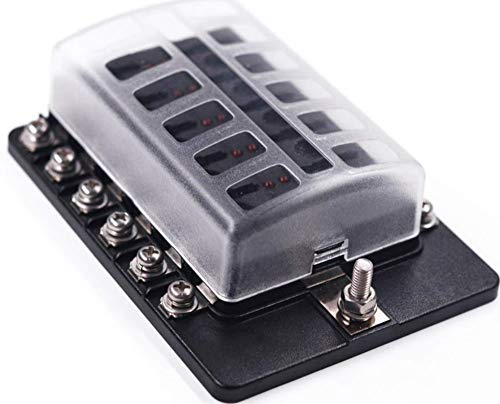 DCFlat 6/8/10/12-Way Fuse Block–ATC/ATO Fuse Box With Ground, LED Light Indication & Protection Cover, Bolt Connect Terminals, Stick Label, For Car Boat Marine Aut (6/8 / 10/12 -Way Fuse, 12-Way)