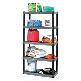 Plastic Shelving Unit,18'D x 36'W x 73-3/4'H,5 Shelves,Dark Gray