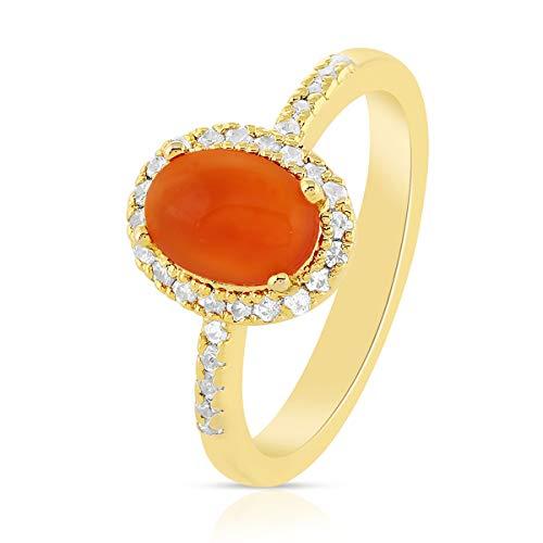 Gemshiner Anillos para mujer Anillo de piedras preciosas de Carnelians naranja Anillo de plata de ley 925 chapado en oro amarillo Regalos de boda para esposa, mamá, hermanos Regalos de cumpleaños