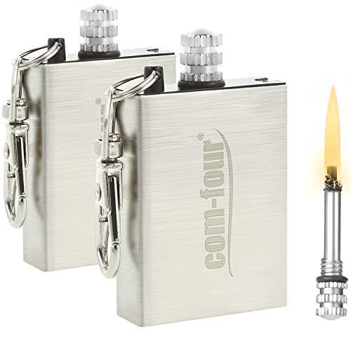 com-four® 2X Camping Streichholz, ewige Streichhölzer, Permanent Matches, Survival Feuerzeug mit Feuerstein als Schlüsselanhänger (02 Stück)