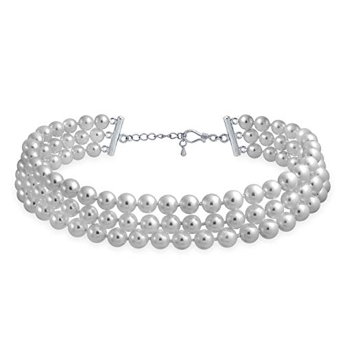 Bling Jewelry Bridal Hand Knotted 3 Row Wide Grey Simulated Pearl Strand Choker Collar Necklace for Teen for Women Silver Plated