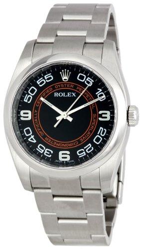 Rolex No Date Black Arabic Dial Orange Concentric Circle Mens Watch 116000BKCOAO