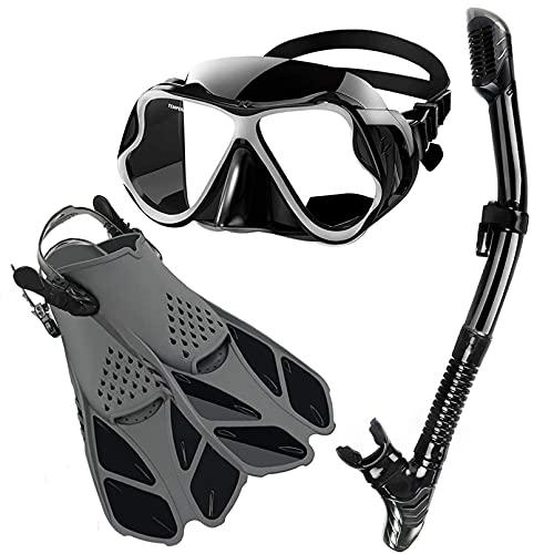 Hanhua Unisex Packs de Snorkel Incluir Gafas de Buceo, Aletas Snorkel y Dry Top Snorkel, Kit de Snorkel Set para Mujeres Y Hombres