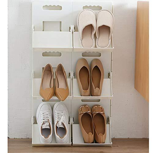 xilinshop Zapatero Zapato Plegable Estante doméstico Zapato Simple Bastidor de Almacenamiento de Bastidor de Estante de Pared Perforada sin perforación Perchero Estante de Almacenamiento de Zapatos