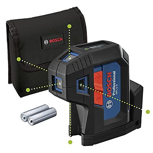 Bosch Professional 5-Punkt-Laser GPL 5 G (grüner Laser, Arbeitsbereich: bis 30 m, Tasche)