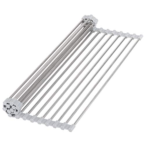 """Hhyn Roll-Up Sink Drying Rack 17.7""""(L) x 14""""(W) - Multipurpose Heat Resistant Over The Sink Stainless Steel & Silicone Dish Drying Rack Rollable Kitchen Dish Drainer for Fruits and Vegetable"""