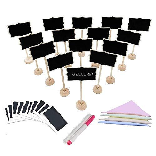 Mini pizarras, 36 piezas Soporte de madera Pequeñas señales de pizarra Tarjetas de lugar para bodas, Fiestas, Números de la tabla, Memorándum, Etiquetas de precio, Señales de comida