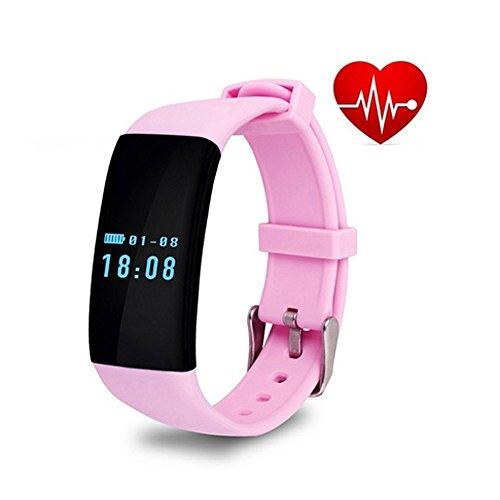Moaeuro Originale Stock Best Gift Bluetooth Smartwatch D21Wristband Band Cardiofrequenzimetri Smartband Activity Tracker Fitness per iOS Android, Colore: Nero Bianco.Rosa.Viola, Uomo Donna, Pink