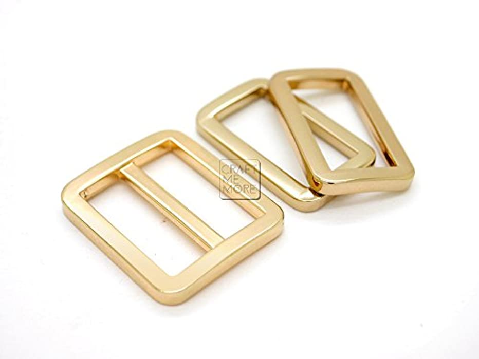 CRAFTMEmore 1SET GOLD FLAT Metal Purse Slider and Loops 1PC Slide Buckle with 2PCS Rectangular Rings Leather Craft (3/4 Inches)