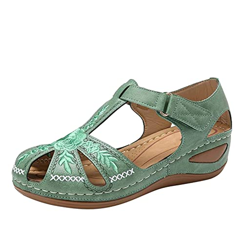 MQJ Zapatos de Verano Mujeres Sandalias Sandalias Negras Sandalias Ortopédicas Sandalias Negras Sandalias de Cuero Tamaño 3 Orthótica Flip Flops Womens Worees Slingback Sandalias,Verde,5 Uk