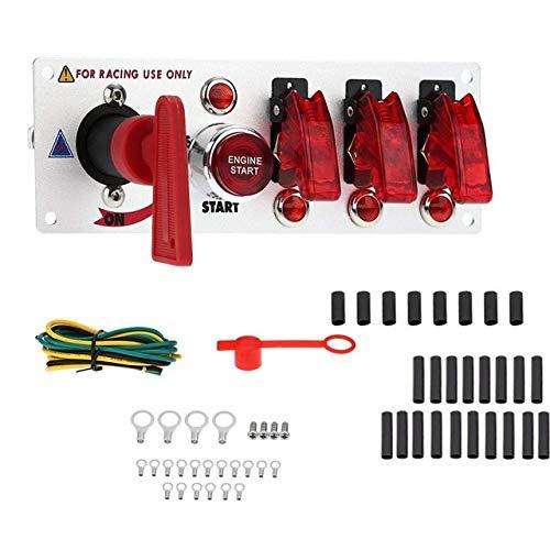 CAIZHIXIANG Interruptor de Encendido DC12V / 20A competir con Auto del Coche Grupo 5 LED Llave de Luces de Encendido de Arranque del Motor Push Button (Color : Rosado, Size : Gratis)