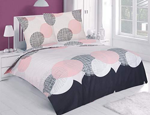 Buymax Bettwäsche-Set 3 Teilig, Renforce-Baumwolle, Reißverschluss, 200x200 cm, Grau Rosa, Kreise Ornamente