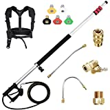 Wogoker 4000 PSI Telescoping Spray Wand Kit for Pressure Washer,6-24 feet Long Giraffe Telescopic Lance, Extendable, up to 8.0 GPM (Updated Red)