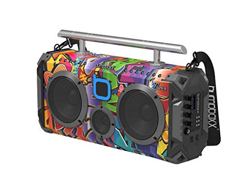 Bumpboxx Bluetooth Boombox Flare6 NYC Graffiti | Retro Boombox with Bluetooth Speaker | Rechargeable Bluetooth Speaker