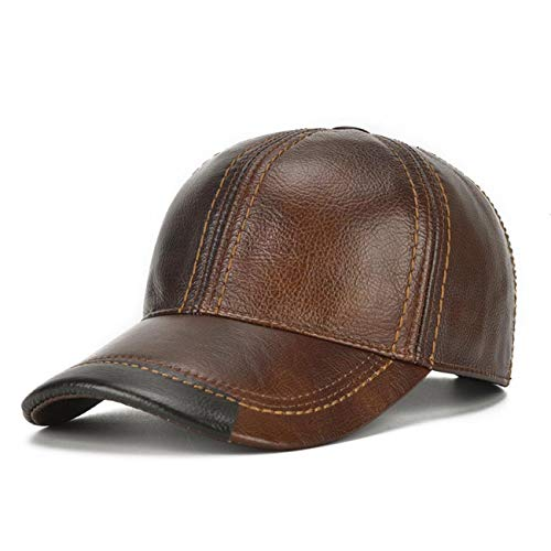 Genuine Leather Mens Baseball Cap,Outdoor Adjustable Real Leather Baseball Cap,Driving Cowhide Sun Hat for Spring or Autumn (Brown)