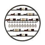 HLWJXS Estante de Alenamiento de Vino Rack Soporte de Vidrio Redondo Montado en la Pared Boca Abajo Colgante Copa de Vino Soporte para Copas Alenamiento Cocina Bar Decoración de Pared,Negro,Diámetro